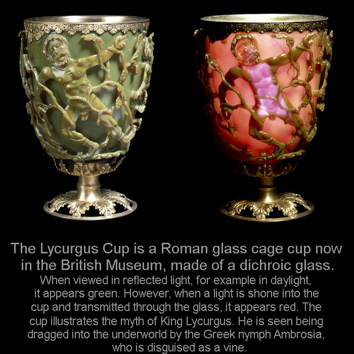 The Lycurgus Cup is a Roman glass cage cup, made of a dichroic glass.